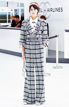 Plaid wide-leg trousers worn on the Chanel Spring 2016 runway
