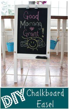 DIY Chalkboard Easel for a great kids art station.