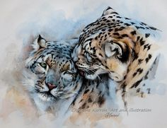 UNCONDITIONALLY - Snow Leopards - colored pencil, watercolor & acrylics