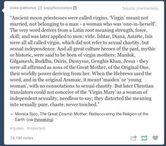 "Some history of what ""virgin"" really means to a woman"