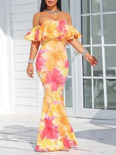 Floral Print Ruffle Strapless Fishtail Maxi Dress