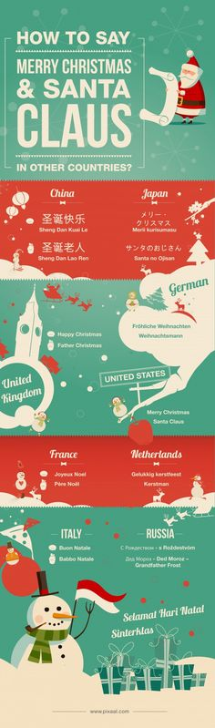 How to Say Merry Christmas & Santa Claus in other Countries #Christmas #Languages #Infographic