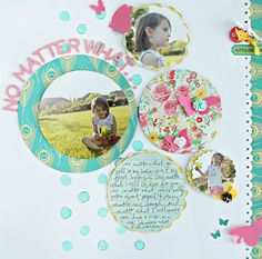 Scrapbook layout with a simple design that simply looks beautiful. From the colors to the shapes and boarders, I love the entire layout. Thank you for sharing with us.