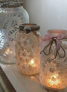 table decorations, vintage weddings, jar candles, rustic decor, old jars, jar lights, mason jars, candle jars, tea lights