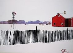 Red barn + windmill painting by artist Gretchen Kelly