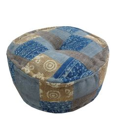 Another great find on #zulily! Blue Patchwork Dhurrie Round Pouf #zulilyfinds