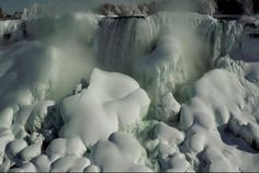 Incredible drone footage of frozen Niagara Falls | The water surging beneath the ice formations is quite the spectacle.