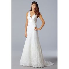Modest Empire A-Line V-Neck Court Train Lace Wedding Dresses with Ruched Waist