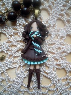 Kawaii chibi ooak doll winter girl polymer clay fimo necklace