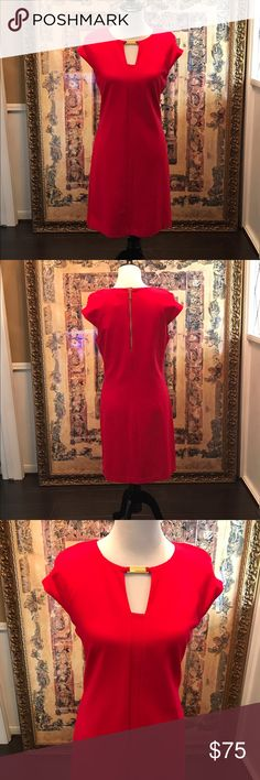 🐣🐣Michael Kors Retro Chic Red Dress NWT Great love king Michael Kors red Knit dress with gold engraved findings.  Night lightweight Knit with off shoulder sleeves. Size 8. New with tags. Michael Kors Dresses Midi