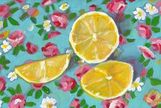 Lemons - folk art painting-  Still life of Lemons and flowers  / original acrylic painting on mdf wall art- wall decor- home decor