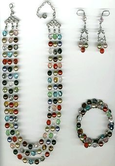 #Fashion jewellery #CR844T necklace set  tri-strand necklace, wrap bracelet,  chandelier earrings