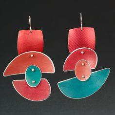 Enamel Jewelry, Handmade Jewelry, Turquoise, Red, Studios, Plastic, Earrings, Jewels, Ear Rings