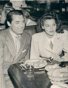 Cary Grant and Ava Gardner at the Brown Derby, 1942
