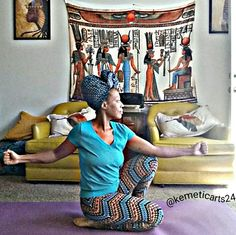 Pose of Immortality, spine isolation, flexibility in knees, quads, ankles. Kemetic Yoga (ancient Egyptian)