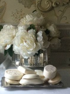 White flowers, silver, crystal, fragrant fine milled soap... What's not to love? ~~ http://www.pinterest.com/source/ana-rosa.tumblr.com/