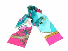 #Hermes Tuiri Ribbon Scarf Silk Pink/Emeral Green (BF056190) - Now: $239