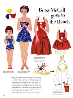 I'm in heaven! Betsy McCall: A site with tons of printable vintage paper dolls& outfits. The girls will love it. Lots of inspiration too for sewing.