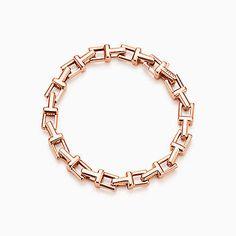 Tiffany T chain bracelet in 18k rose gold, medium.