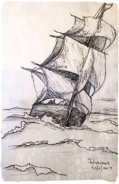 """Skip"" / ""Ship"", Scetch by Johannes, 20/11/2013. Medium: Pen & Pencil on Paper."