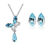Real White GP Stud Earrings And Necklace Set. Fashion Jewellery
