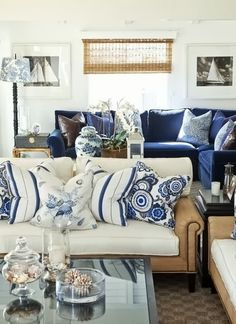 The Glam Pad: 20 Blue and White Family/Living Rooms : Dream Living Room