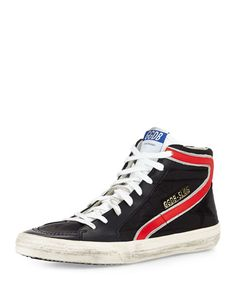 GOLDEN GOOSE Men'S Ggdb-Slide Nylon High-Top Sneaker, Black. #goldengoose #shoes #