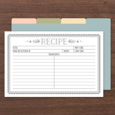 "<p>These Recipe Cards can be filled out in Adobe Acrobat so you don't have to hand write them. </p><p><strong>Size: </strong>4"" x 6"" 