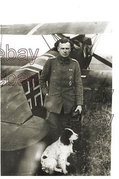 Ww1 #german pilot lt.bolle jasta 11 standing by his #fighter #plane with dog wwi, View more on the LINK: http://www.zeppy.io/product/gb/2/252442389728/