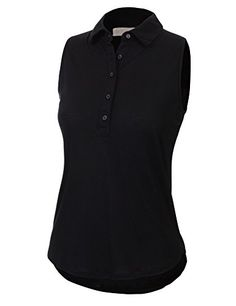 LL Womens Sleeveless Henley Chiffon Back Shirt >>> Details can be found by clicking on the image.