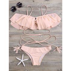Lace Up Ruffle Bikini Set (49 BRL) ❤ liked on Polyvore featuring swimwear, bikinis, swimsuites, bikini two piece, bikini swimsuit, swimsuits two piece, ruffle swimsuit and bathing suits two piece