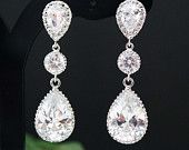 Wedding Bridal Jewelry Bridal Earrings Dangle Earrings cubic zirconia connectors and clear Large cubic zirconia tear drop Bridesmaid Gift
