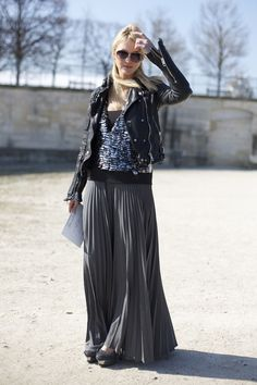 Buberry leather jacket and pleated maxi skirt