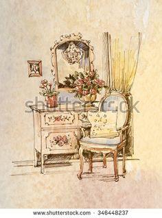 interior, water color, sketch - stock photo