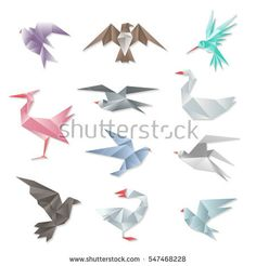 Origami Bird Set Vector 3d Abstract Paper Flying Birds With Wings Isolated On White Background Geometric Design Graphic Animals Illustration