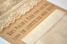 Vintage Range Hanging order of service with confetti pouch Grace & Bramble | Vintage Wedding Stationery