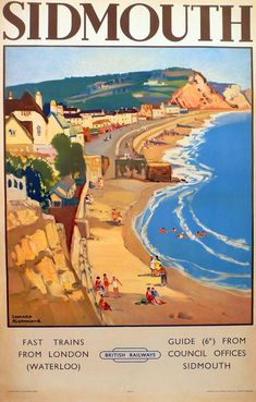 A Sidmouth Devon Poster Retro Vintage Holiday Advertising Railway Posters Uk, Train Posters, Railway Posters, Art Deco Posters, Illustrations Vintage, Illustrations And Posters, Vintage Travel Posters, Vintage Postcards, British Travel