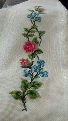 The most beautiful cross-stitch pattern - Knitting, Crochet Love Cross Stitch Borders, Cross Stitch Rose, Cross Stitch Flowers, Modern Cross Stitch, Cross Stitch Designs, Cross Stitching, Cross Stitch Embroidery, Cross Stitch Patterns, Canvas Template