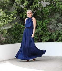 Silk halter maxi dress | For more style inspiration visit 40plusstyle.com