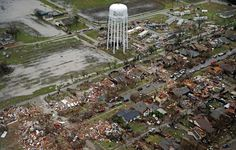 An aerial image taken Sunday, December 27, 2015 shows the path of a tornado in Rowlett, Texas. Violent storms ripped through the North Texas area late Saturday, spawning tornados that killed 11 people. (G.J. McCarthy/The Dallas Morning News)