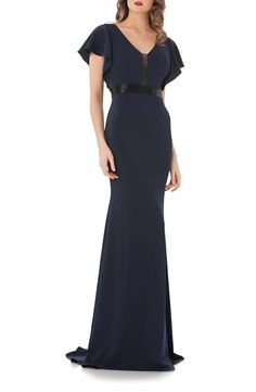 Main Image - Carmen Marc Valvo Infusion Beaded Flutter Sleeve Gown