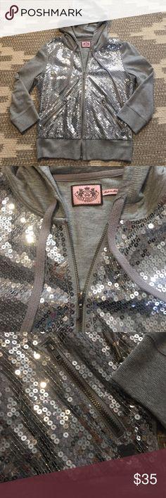 NWOT Juicy Couture sequin hoodie NWOT, never worn. Sequin juicy couture zip hoodie. Has 2 front pockets Juicy Couture Jackets & Coats