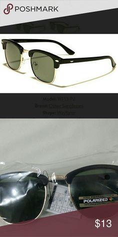 Wayfarer style polarized UNISEX sunglasses Top is black plastic,  bridge and rims are gold color metal, lens are green & UV400, lightweight. Accessories Sunglasses