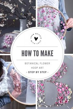 How to make embroidery hoop art with dried flowers - From Britain with Love,How to make embroidery hoop art with dried flowers. Olga Prinku shares her simple step by step DIY tutorial to create your own alphabet initial hoop w. Embroidery Hoop Crafts, Tambour Embroidery, Flower Embroidery Designs, Embroidery Art, Hungarian Embroidery, Embroidery Jewelry, Flower Crafts, Diy Flowers, Spring Flowers