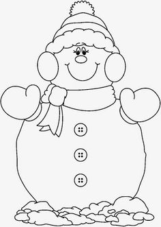 Black and White Snowman Catching Snowflakes Clip Art