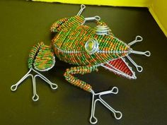 Hand-beaded wire-art frog