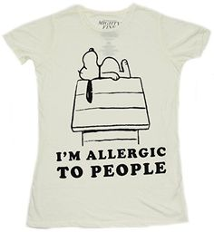 Peanuts Snoopy Allergic To People Boyfriend T-shirt