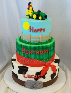 Farm Birthday Cake  I love the belt buckle that says the year on it!