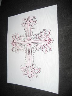 Pink Frilly Rhinestone & Sequin Heat Transfer Cross by cthorses66, $6.00