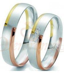 Βέρες γάμου τρίχρωμες με διαμάντι Breuning 6209-6210